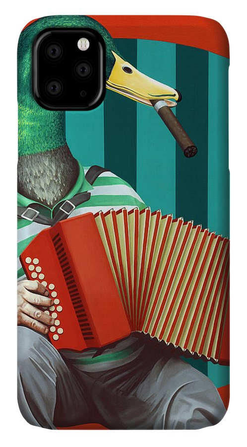Acrylic IPhone 11 Case featuring the painting Accordion To This by Kelly Jade King