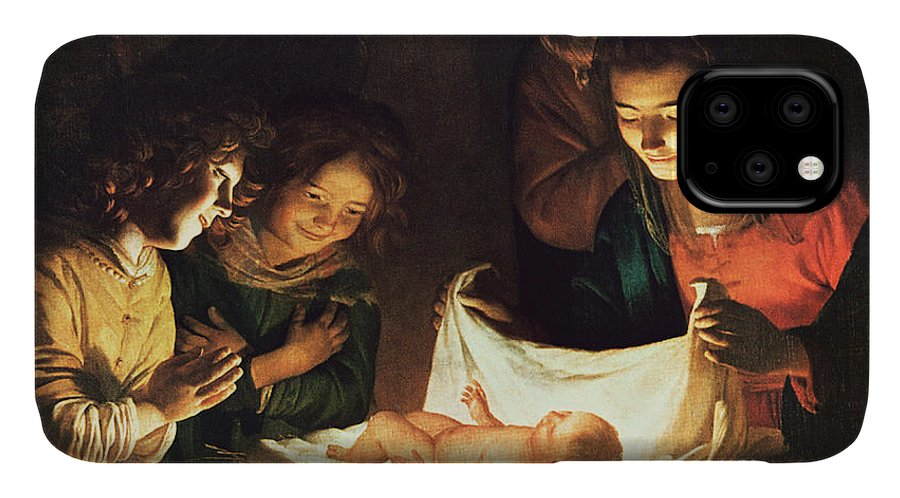 Adoration Of The Baby IPhone Case featuring the painting Adoration Of The Baby by Gerrit van Honthorst