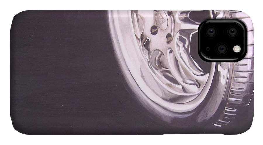 Wheel IPhone Case featuring the digital art Adverts On Tyres by Olaoluwa Smith