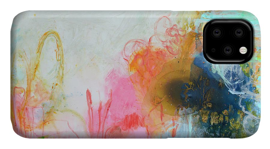 Abstract IPhone 11 Case featuring the painting Afternoon Snooze by Claire Desjardins