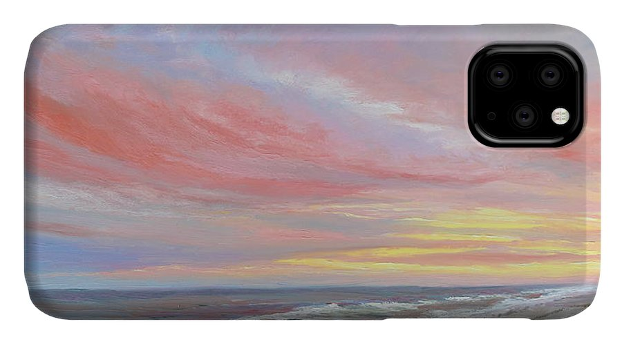 Seascape IPhone 11 Case featuring the painting Alberta's Sunset by Lea Novak