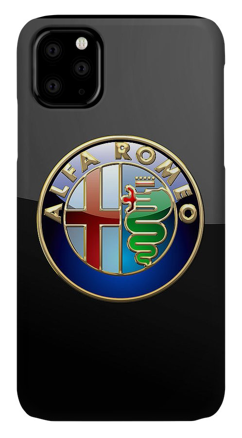 Wheels Of Fortune� Collection By Serge Averbukh IPhone Case featuring the photograph Alfa Romeo - 3 D Badge on Black by Serge Averbukh