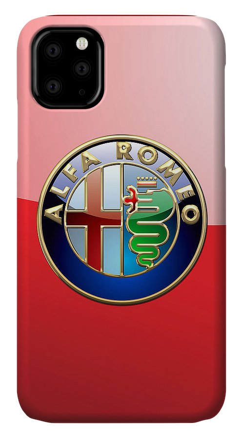 Wheels Of Fortune By Serge Averbukh IPhone Case featuring the photograph Alfa Romeo - 3d Badge On Red by Serge Averbukh