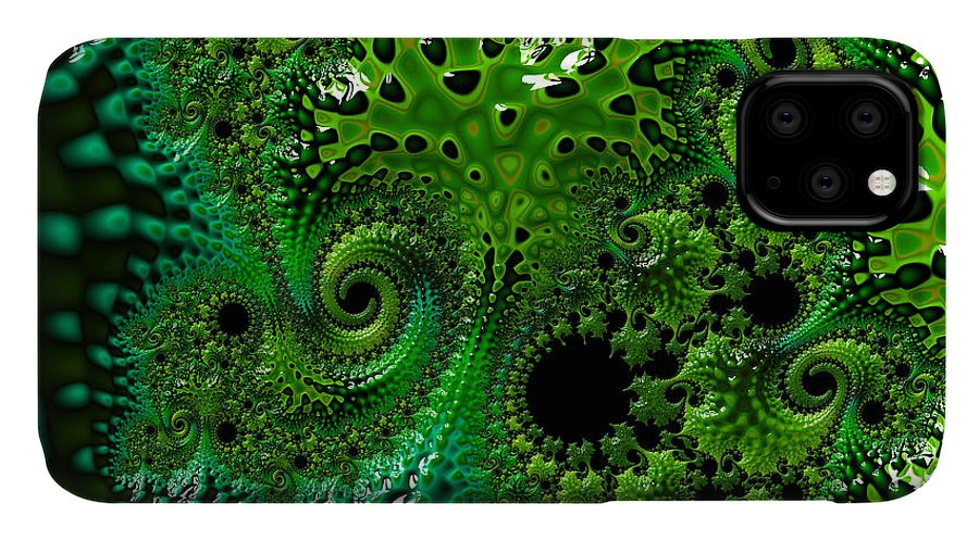 Art IPhone 11 Case featuring the digital art Algae by Vix Edwards