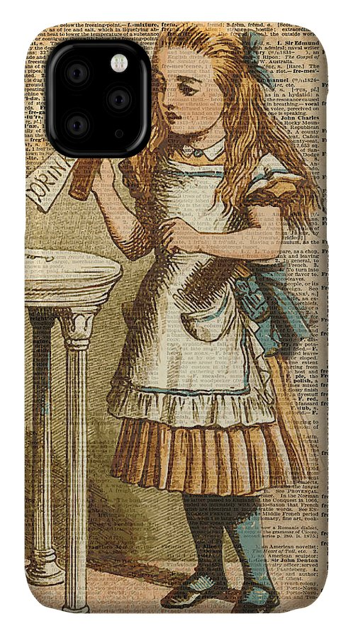 Drink IPhone Case featuring the digital art Alice in Wonderland Drink Me Vintage Dictionary Art Illustration by Anna W
