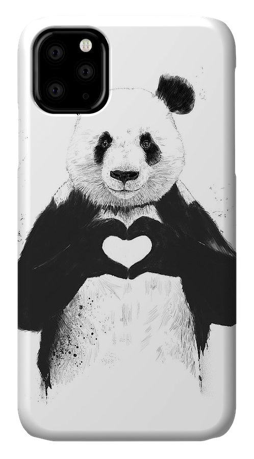 Panda IPhone 11 Case featuring the mixed media All You Need Is Love by Balazs Solti