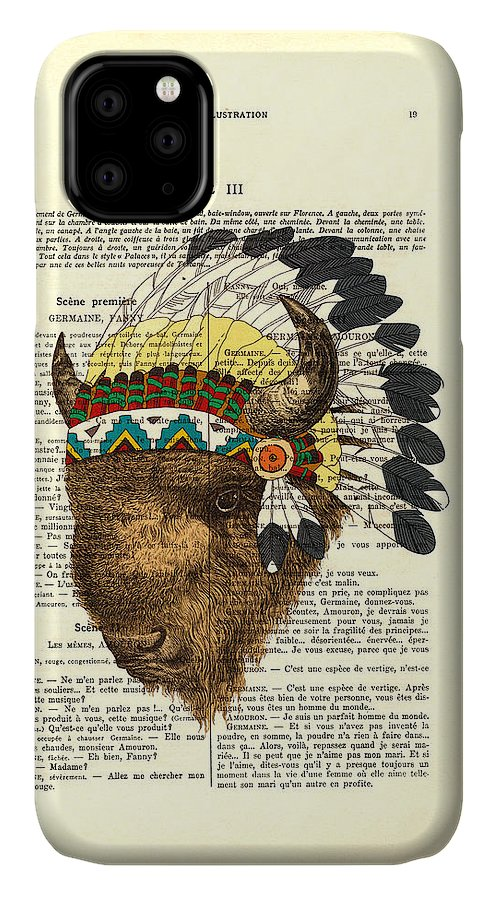 Dictionary Art IPhone 11 Case featuring the digital art American Bison - Buffalo With Indian Headdress by Madame Memento