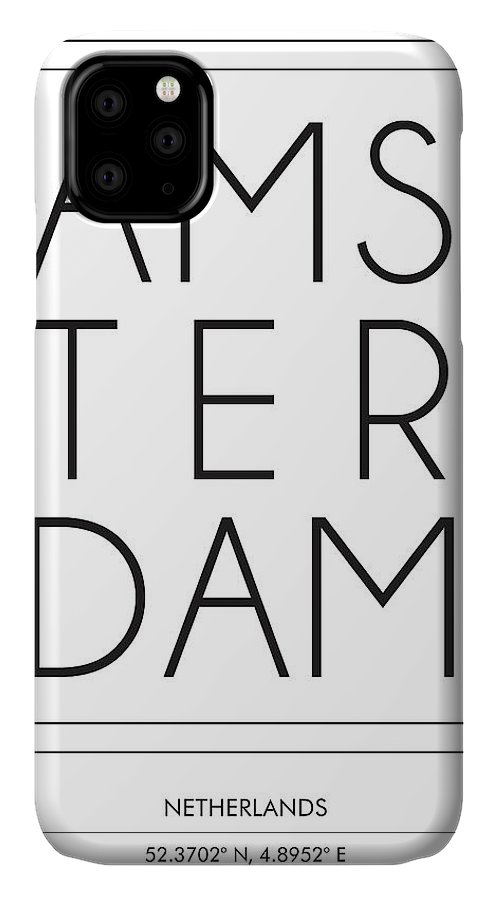 Amsterdam IPhone Case featuring the mixed media Amsterdam, Netherlands - City Name Typography - Minimalist City Posters by Studio Grafiikka