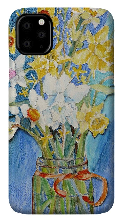 Flowers IPhone 11 Case featuring the painting Angels Flowers by Jan Bennicoff