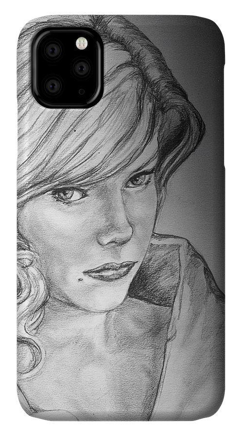 Anne Francis IPhone Case featuring the drawing Anne Francis by Bryan Bustard