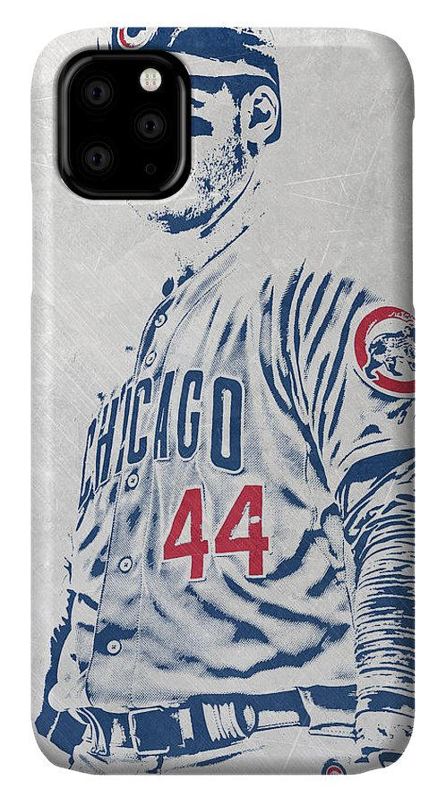 Anthony Rizzo IPhone Case featuring the mixed media Anthony Rizzo Chicago Cubs Pixel Art by Joe Hamilton