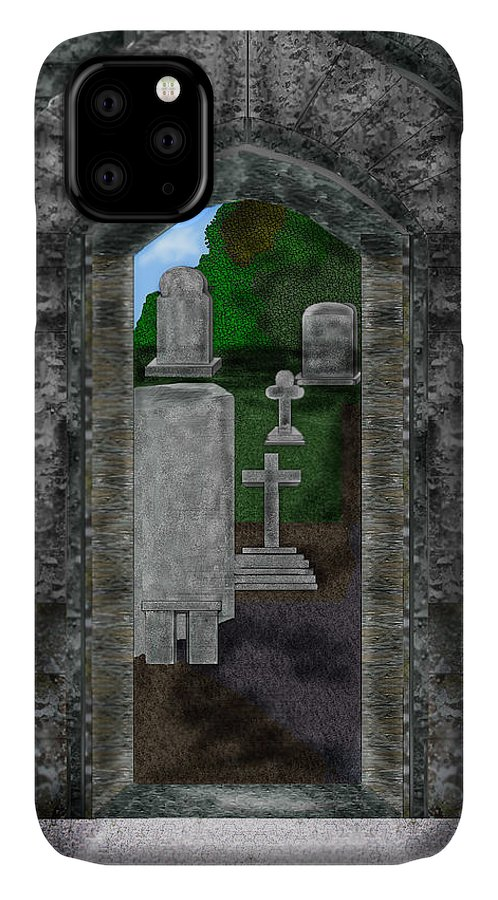 Digital Landscape IPhone Case featuring the painting Arches and Cross in Ireland by Anne Norskog