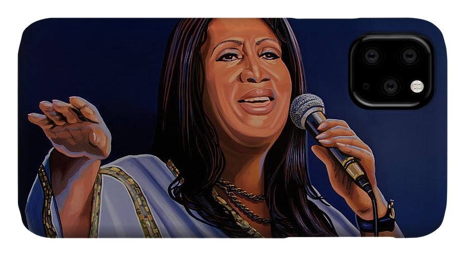 Aretha Franklin IPhone 11 Case featuring the painting Aretha Franklin Painting by Paul Meijering
