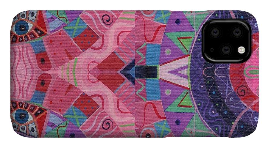 Asymmetrical Abstraction IPhone 11 Case featuring the digital art Arrangement 3 - T J O D 37 by Helena Tiainen
