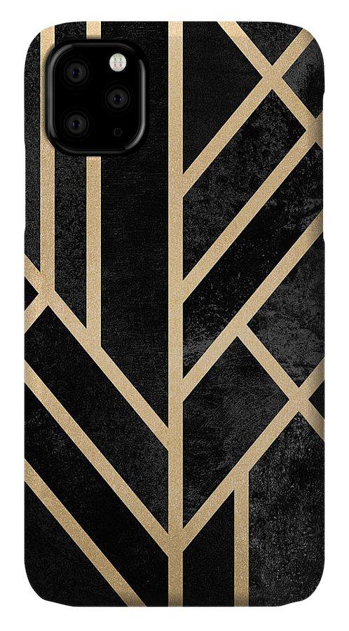 Digital IPhone Case featuring the digital art Art Deco Black by Elisabeth Fredriksson