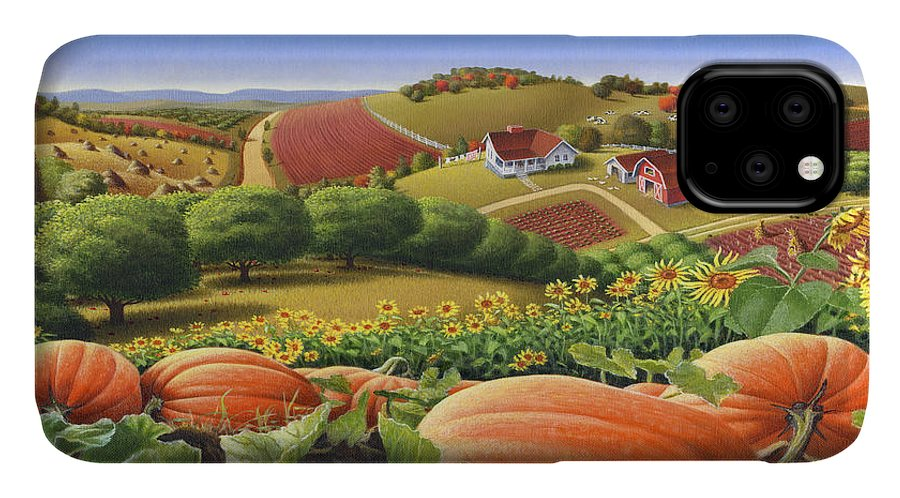Pumpkin IPhone Case featuring the painting Farm Landscape - Autumn Rural Country Pumpkins Folk Art - Appalachian Americana - Fall Pumpkin Patch by Walt Curlee