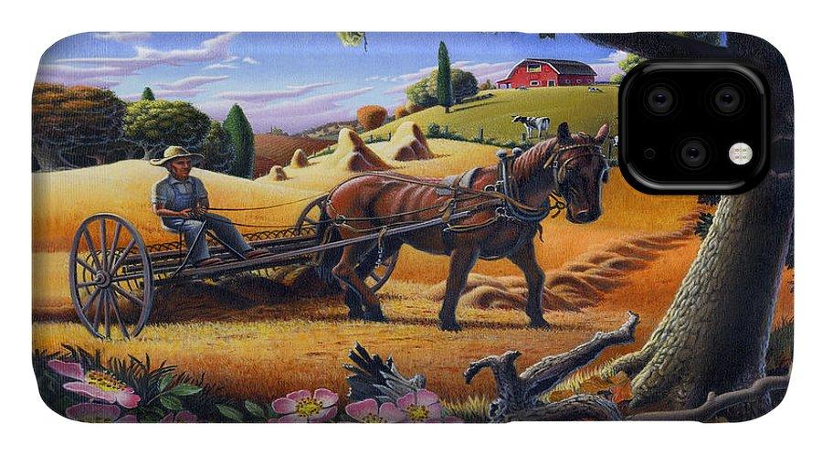 Raking Hay IPhone 11 Case featuring the painting Raking Hay Field Rustic Country Farm Folk Art Landscape by Walt Curlee