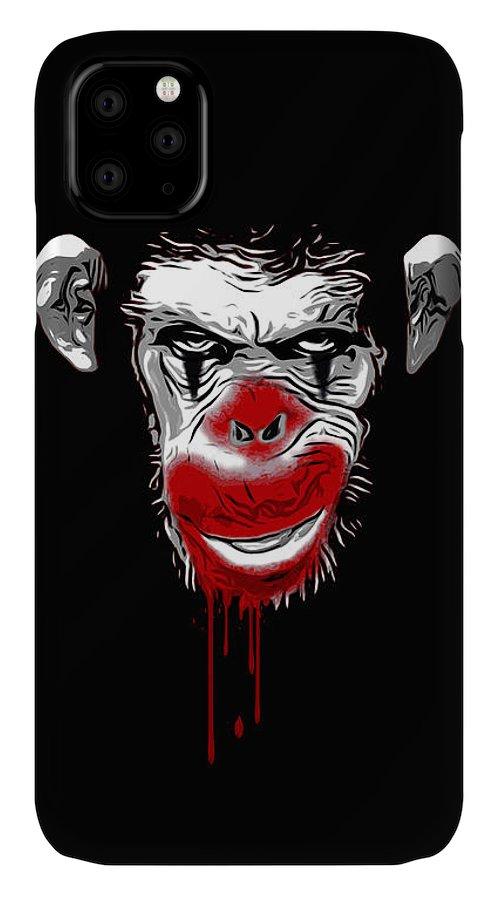 Monkey IPhone 11 Case featuring the digital art Evil Monkey Clown by Nicklas Gustafsson