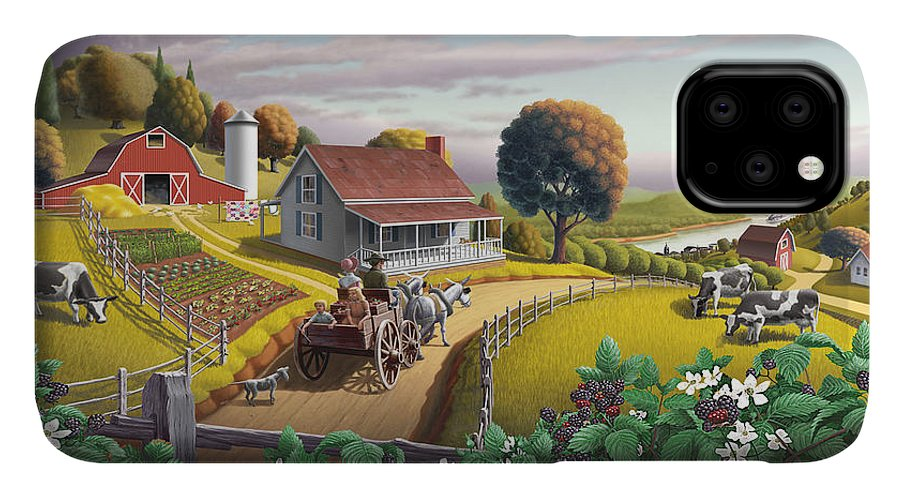 Farm Landscape IPhone 11 Case featuring the painting Appalachian Blackberry Patch Rustic Country Farm Folk Art Landscape - Rural Americana - Peaceful by Walt Curlee