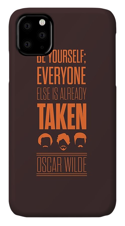 Modern Print Art IPhone 11 Case featuring the digital art Oscar Wilde Quote Typographic Art Print Poster by Lab No 4 - The Quotography Department
