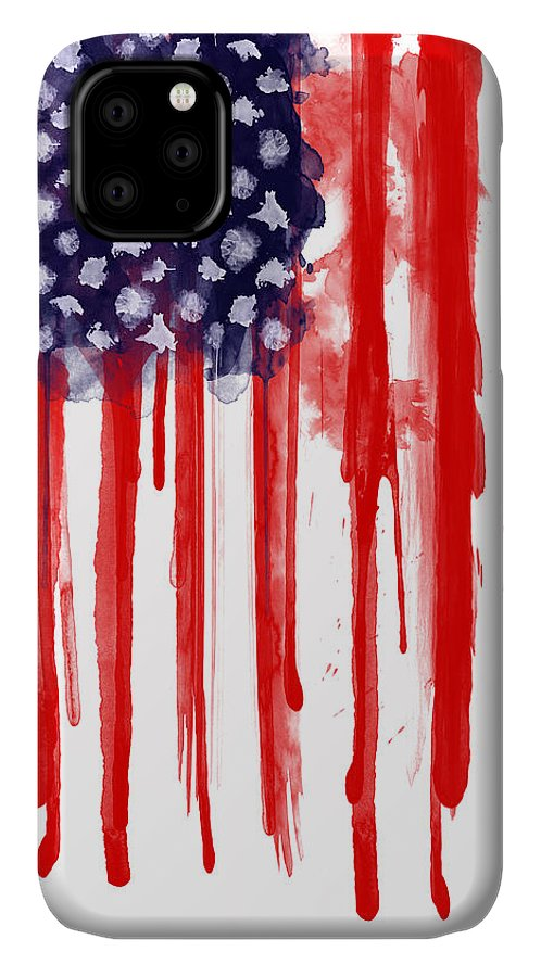 America IPhone Case featuring the painting American Spatter Flag by Nicklas Gustafsson