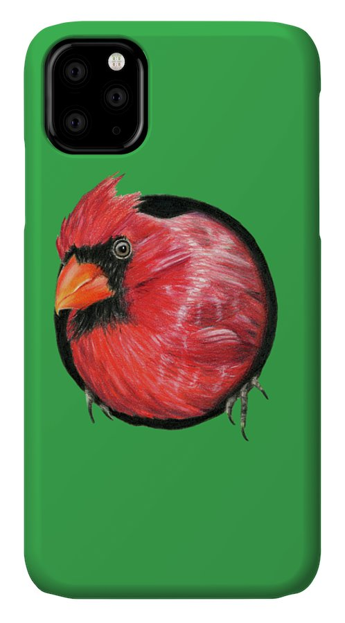 Cardinals IPhone Case featuring the painting Red And Green by Sarah Batalka
