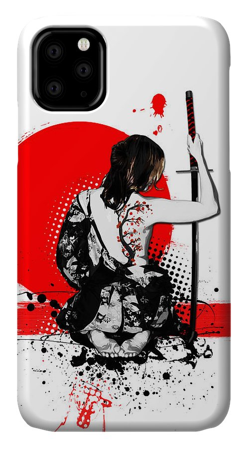 Samurai IPhone Case featuring the digital art Trash Polka - Female Samurai by Nicklas Gustafsson
