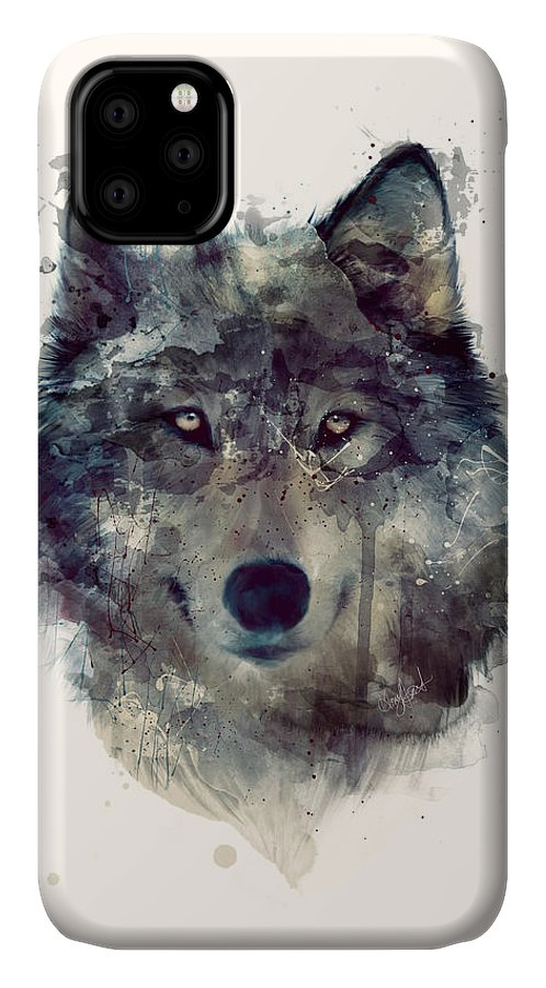 Wolf IPhone Case featuring the painting Wolf // Persevere by Amy Hamilton