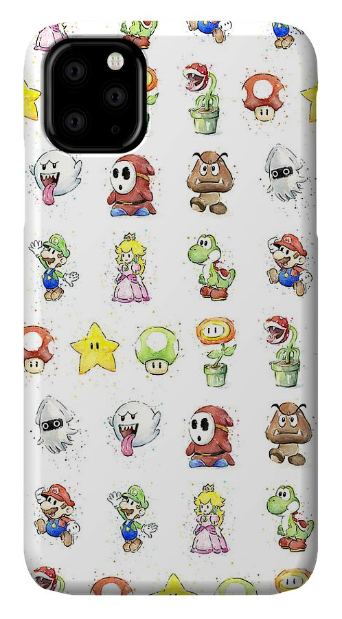 Mario IPhone Case featuring the painting Mario Characters in Watercolor by Olga Shvartsur