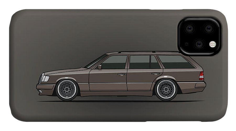 Car IPhone Case featuring the digital art Mercedes Benz W124 E-class 300te Wagon - Anthracite Grey by Monkey Crisis On Mars