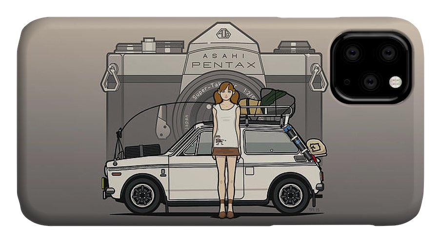 Car IPhone Case featuring the digital art Honda N600 Rally Kei Car With Japanese 60's Asahi Pentax Commercial Girl by Monkey Crisis On Mars