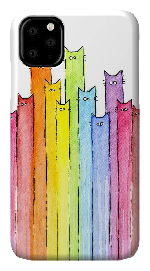 Cats IPhone Case featuring the painting Cat Rainbow Watercolor Pattern by Olga Shvartsur