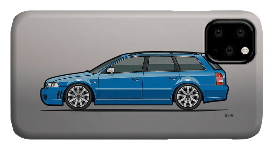 Station Wagon IPhone 11 Case featuring the mixed media Audi Rs4 A4 Avant Quattro B5 Type 8d Wagon Nogaro Blue by Monkey Crisis On Mars