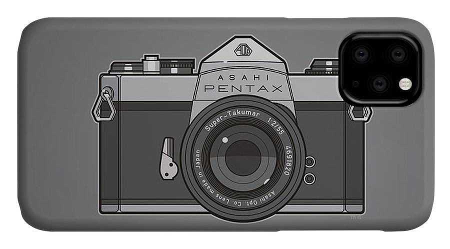 Camera IPhone 11 Case featuring the photograph Asahi Pentax 35mm Analog Slr Camera Line Art Graphic Gray by Monkey Crisis On Mars
