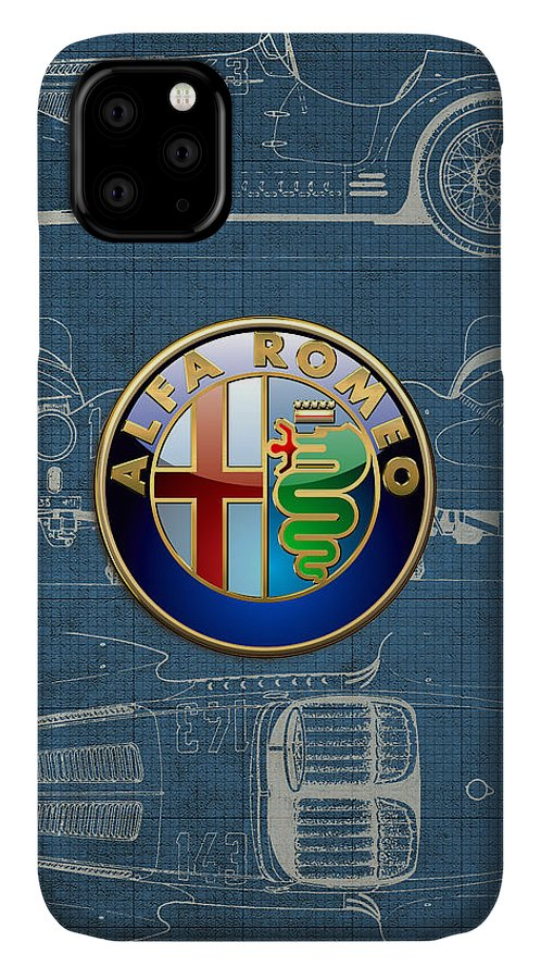 �wheels Of Fortune� By Serge Averbukh IPhone Case featuring the photograph Alfa Romeo 3 D Badge over 1938 Alfa Romeo 8 C 2900 B Vintage Blueprint by Serge Averbukh
