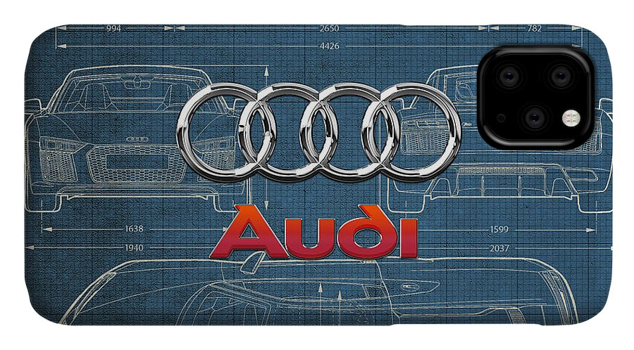 �wheels Of Fortune� Collection By Serge Averbukh IPhone Case featuring the photograph Audi 3 D Badge over 2016 Audi R 8 Blueprint by Serge Averbukh