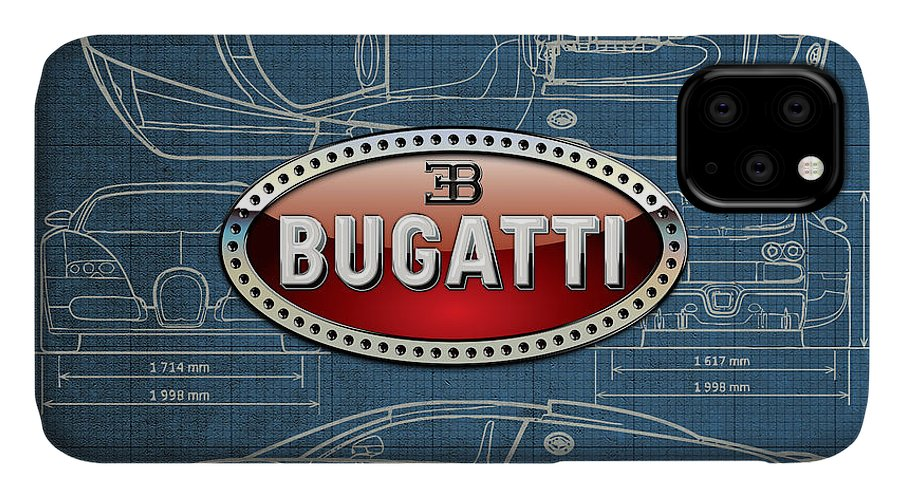 �wheels Of Fortune� By Serge Averbukh IPhone Case featuring the photograph Bugatti 3 D Badge Over Bugatti Veyron Grand Sport Blueprint by Serge Averbukh