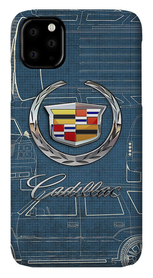 'wheels Of Fortune' By Serge Averbukh IPhone Case featuring the photograph Cadillac 3 D Badge Over Cadillac Escalade Blueprint by Serge Averbukh
