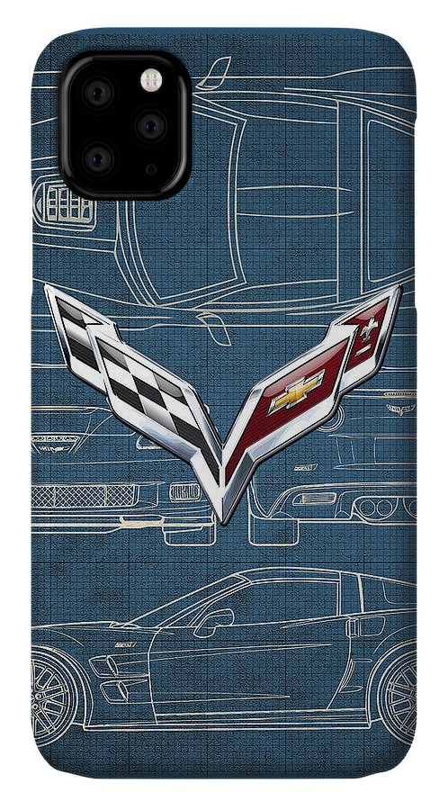 �wheels Of Fortune� By Serge Averbukh IPhone Case featuring the photograph Chevrolet Corvette 3 D Badge over Corvette C 6 Z R 1 Blueprint by Serge Averbukh