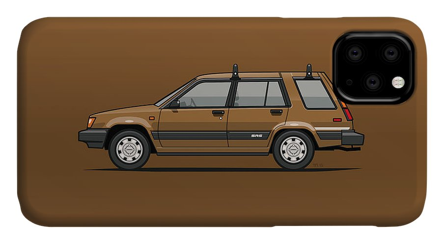Car IPhone 11 Case featuring the mixed media Toyota Tercel Sr5 4wd Wagon Al25 Bronze by Monkey Crisis On Mars
