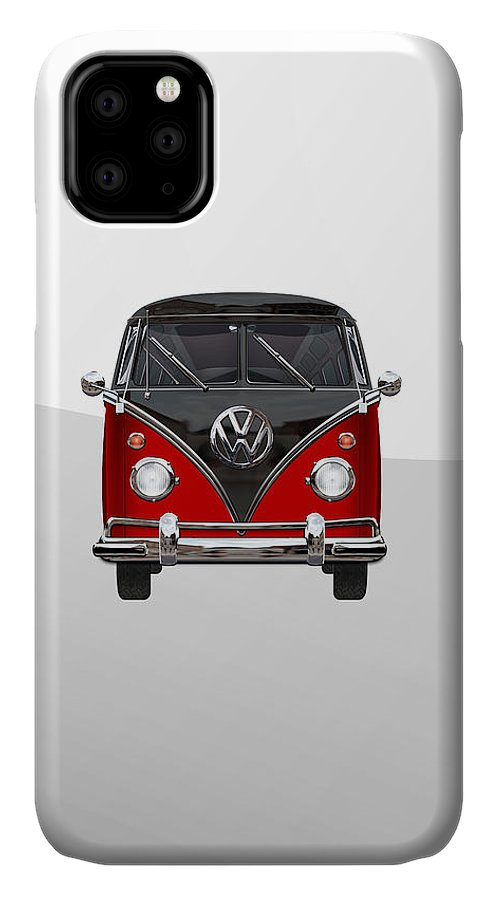 'volkswagen Type 2' Collection By Serge Averbukh IPhone Case featuring the photograph Volkswagen Type 2 - Red and Black Volkswagen T 1 Samba Bus on White by Serge Averbukh
