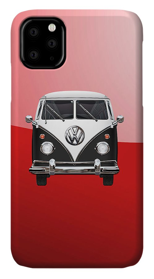 'volkswagen Type 2' Collection By Serge Averbukh IPhone Case featuring the photograph Volkswagen Type 2 - Black And White Volkswagen T 1 Samba Bus On Red 2 by Serge Averbukh