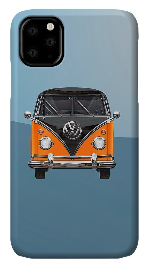 'volkswagen Type 2' Collection By Serge Averbukh IPhone Case featuring the photograph Volkswagen Type 2 - Black and Orange Volkswagen T 1 Samba Bus over Blue by Serge Averbukh