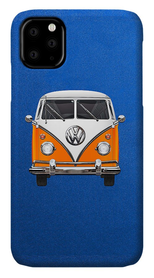 'volkswagen Type 2' Collection By Serge Averbukh IPhone Case featuring the photograph Volkswagen Type - Orange And White Volkswagen T 1 Samba Bus Over Blue Canvas by Serge Averbukh