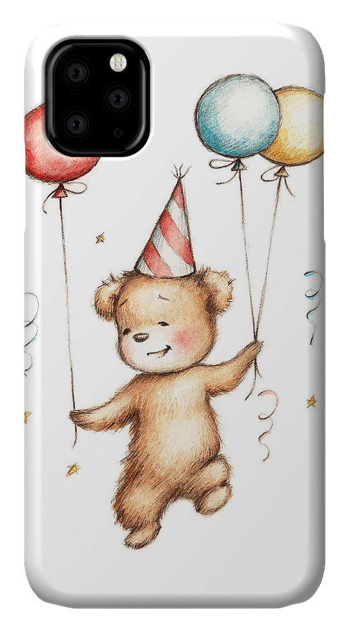 Bear IPhone 11 Case featuring the painting Print Of Teddy Bear With Balloons by Anna Abramskaya