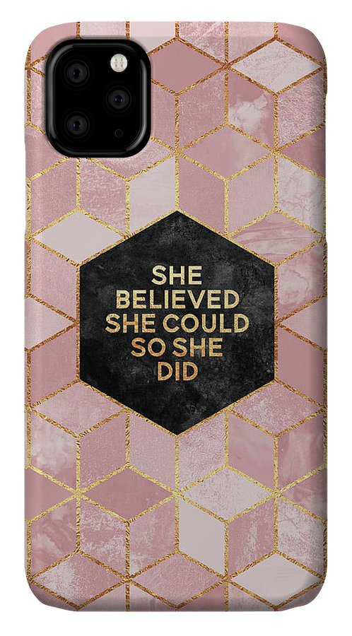 Graphic IPhone Case featuring the digital art She believed she could by Elisabeth Fredriksson