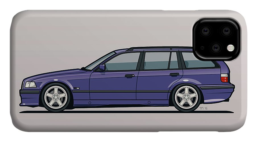 Automotive Art IPhone Case featuring the digital art Bmw E36 328i 3-series Touring Wagon Techno Violet by Monkey Crisis On Mars
