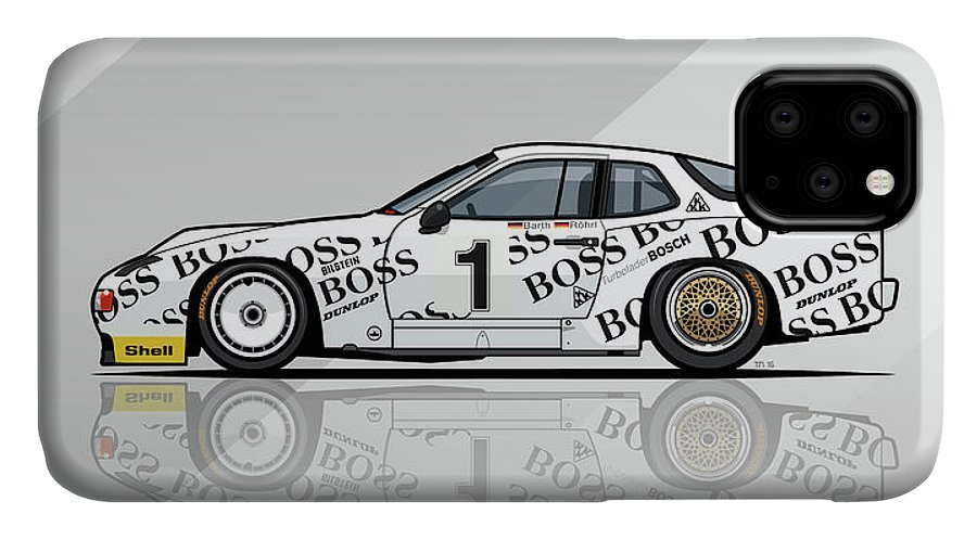 Car IPhone 11 Case featuring the digital art P 924 Carrera Gtp/gtr Le Mans by Monkey Crisis On Mars