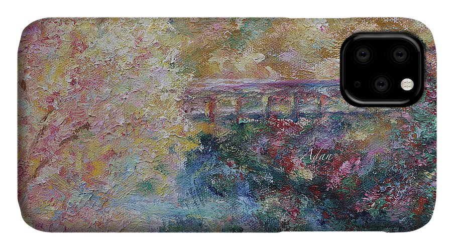 Fall Colors IPhone Case featuring the painting Birds Boaters And Bridges Of Barton Springs - Autumn Colors Pedestrian Bridge by Felipe Adan Lerma