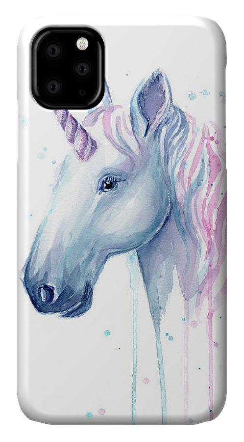 Unicorn IPhone Case featuring the painting Cotton Candy Unicorn by Olga Shvartsur